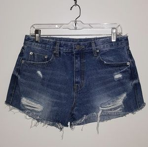 Wednesday distressed jean shorts